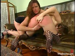 Submissive Kat gets spanked and fingered by Kym Wilde