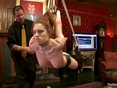 Slim girl gets her vag whipped and toyed in a kinky BDSM vid