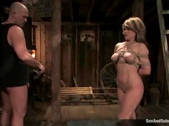 Slutty Tyla Wynn gets tortured and fucked in a wooden cabin