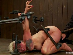 Two kinky babes are being abused by a busty shemale