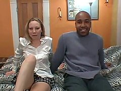 Nasty amateur girl in lingerie gets fucked in interracial video