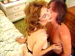 Voluptuous brunette beads her hairy pussy on stiff shaft