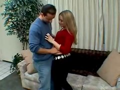 Blonde cutie Justine gives a fantastic blowjob to a lucky dude