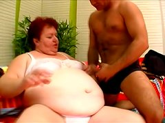 Damn huge woman is smashing his huge cock