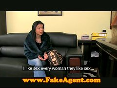 Slim babe with hot tits gets fucked in a an office