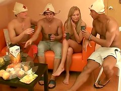 Skanky blonde slut is gangbanged  in Russian sauna