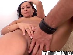 Brunette with her pussy pierced gets fucked hard on the casting couch.