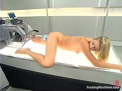Delightful Angel Long gets her asshole toyed by a machine