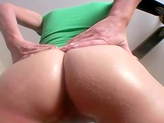 Nasty blonde Allie oils her ass and shows it off for the webcam