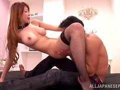 Hot sex with the busty Yuuka Minas wearing stockings
