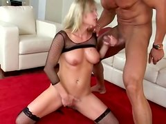 Busty Harmony Rose deepthroats a weiner before taking it in her ass
