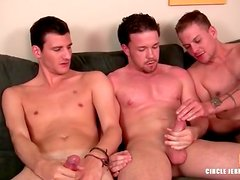 Three guys lube up and jerk off lustily