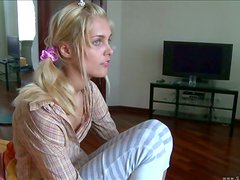 Sasha is a Blonde Bimbo in Pigtails Who Stretches her Pink Wide!
