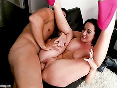 Brunette Jayden Jaymes with juicy tits is on