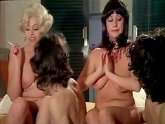 Two voluptuous busty MILFs get eaten and fucked doggystyle in foursome