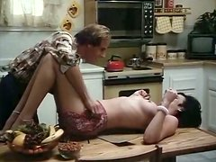 Fabulous brunette housewife gets her hairy pussy eaten in kitchen