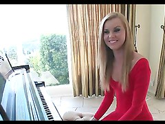 Jessie Rogers takes a ride on her piano teacher's big cock