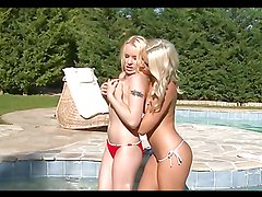 Naughty blondes get fucked outdoors in a foursome