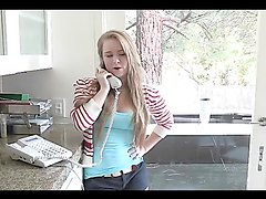 Blonde mom and daughter have a threesome with a lucky stud