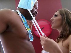 Busty Kiera King rides big black cock and gets facialed