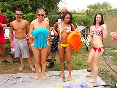 Three charming chicks are in a hot bikini sex party