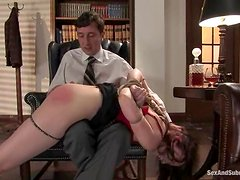 Sexy secretary gets belted and fucked right in the office
