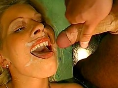 Gangbang with hardcore bukkake for sexy blondes