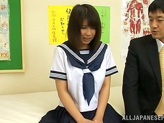 Perverted pussy plays with a sizzling Japanese school girl