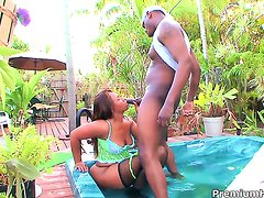 Chocolate gets her snatch hammered outrageously by hot man
