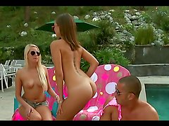 Gorgeous teens have a threesome with a very lucky guy