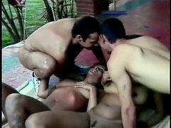 Two brunette sluts enjoy banging with two bisexual men on the patio