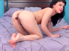 Little black dildo turns on Katie St Ives