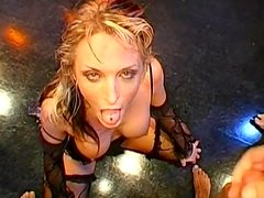 Extreme cum-swallowing with blonde