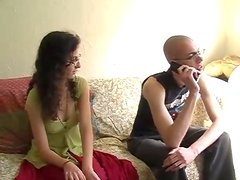 Skinny Bald Dude And Horny Brunette Fucking Hard On The Bed