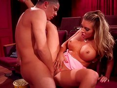 Big breasted bombshell gets fucked in missionary position