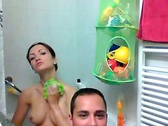 Handsome dude makes video of his amateur GF while she takes bath
