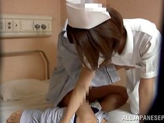 Nasty japanese nurse getting fucked from behind by a patient.