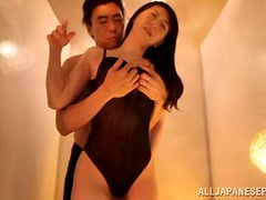 Horny asian babe with big tits gets nailed hard in the shower.