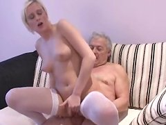 Sweet blonde Diana is banging with an old dick
