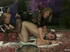 Nasty brunette girl humiliates two guys in BDSM video