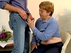 Nasty granny Jenny gets her mouth and cunt fucked deep indoors