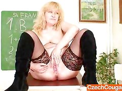 Well endowed Wifey teacher fucks herself plus a adult