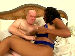 Chubby Ebony With Big Natural Tits Sucking And Fucking Bald Guys Dick