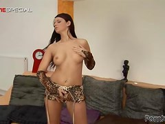 Brunette Babe Takes a Huge Cock-Shaped Dildo Up In Her Ass