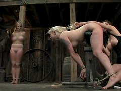Blondes Get Spanked and Ass Fingered and Toyed in Lesbian BDSM