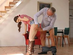 Old man is banging with young brunette Stacy Snake