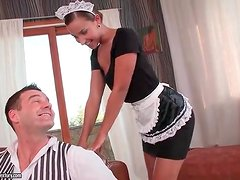 French maid kisses him and sucks his dick