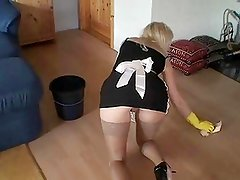 Amateur maid fucked while cleaning the house