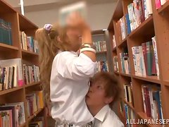 Hardcore and wild sex in the Japanese library