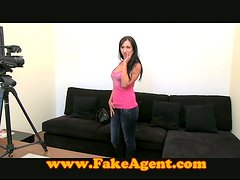 Pretty brunette girl gets fucked and fingered at a casting